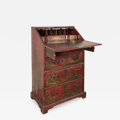 English Queen Anne Early 18th Century Red Chinoiserie Lacquer Desk Commode