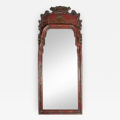 English Queen Anne Early 18th Century Red Chinoiserie Lacquer Mirror