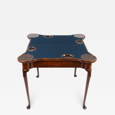English Queen Anne concertina action flip top game table