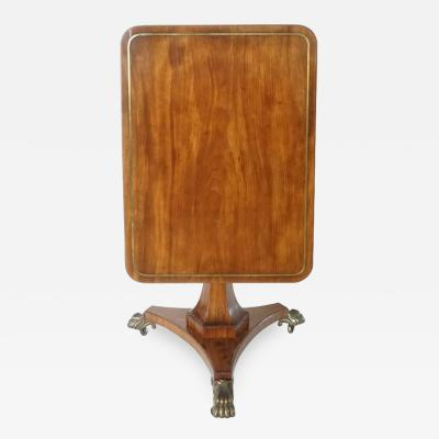 English Regency Brass Inlaid Mahogany Tilt Top Table circa 1820