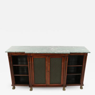 English Regency Green Marble and Mahogany Credenza