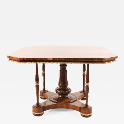 English Regency Octagonal Rosewood and Brass Trim Center Table