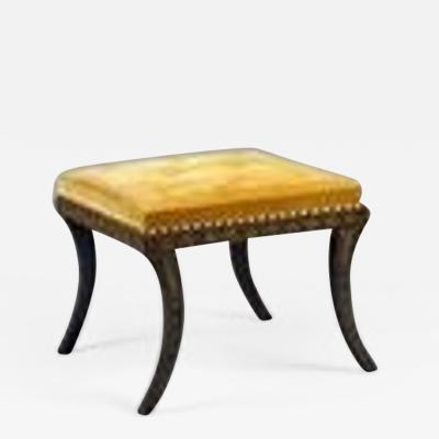 English Regency Period Painted Sabre Leg Bench Stool with original decoration