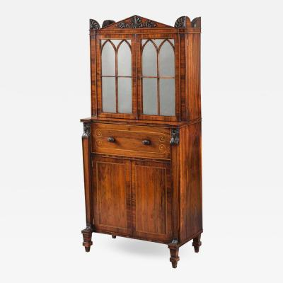 English Regency Period Secr taire Cabinet with Egyptian Motifs