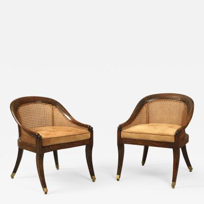 English Regency Period Simulated Rosewood Small Bergere Library Bedroom Chairs