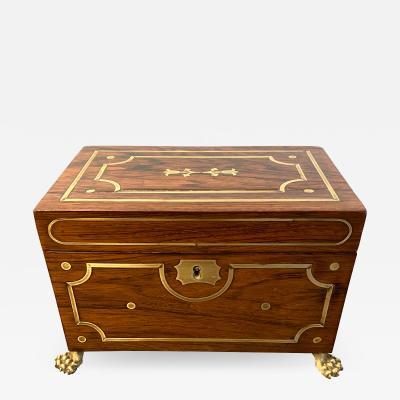 English Regency Rosewood Brass Inlaid Tea Caddy c 1820