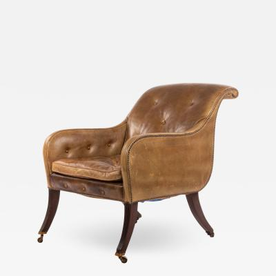 English Regency Sleigh Club Chair