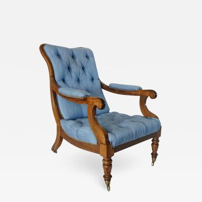 English Regency Solid Walnut Library Chair
