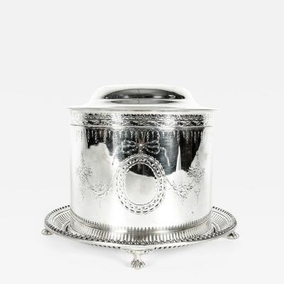 English Silver Plate Covered Biscuit Box Tea Caddy