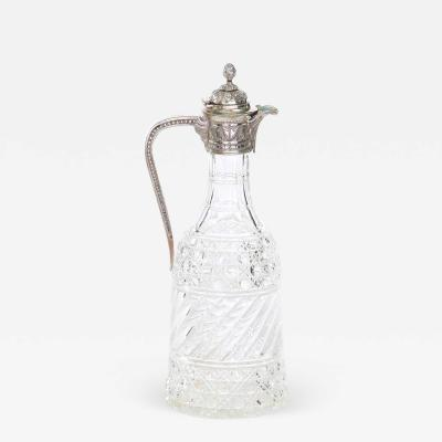 English Silver Plated Mounted Cut Glass Claret Jug