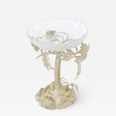 English Silver Plated Stand Crystal Bowl Piece