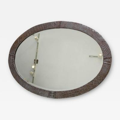 English Steel Oval Arts and Crafts Mirror
