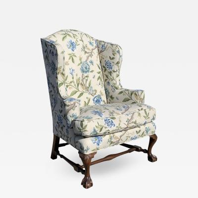 English Style Traditional Wingback Chair Floral Motif