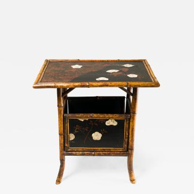 English Table with Lacquer Japanning Eggshell Design and Bamboo