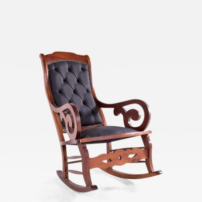 English Teak and Tufted Leather Rocking Chair