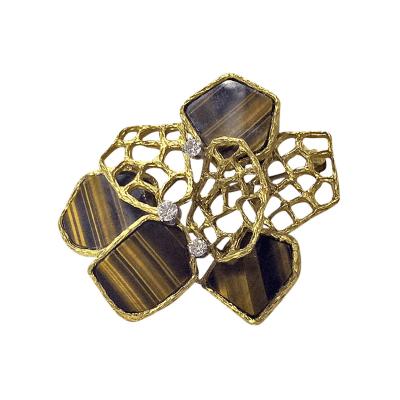 English Tigers Eye Diamond Gold Pendant Brooch