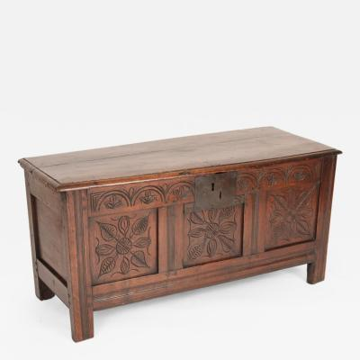 English Tudor Style Antique English Oak Trunk