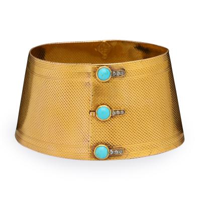 English Turquoise 18K Gold Cuff Bracelet circa 1860