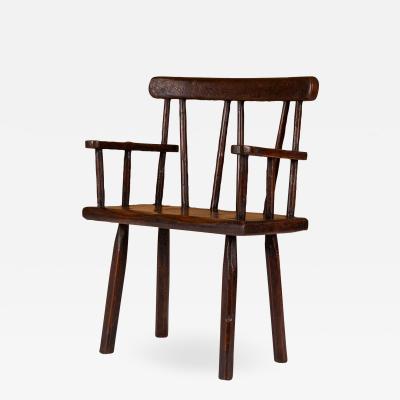 English Vernacular Brown Painted Armchair