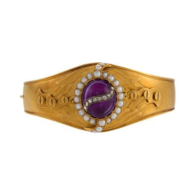English Victorian Amethyst Pearl and Diamond Cuff Bracelet