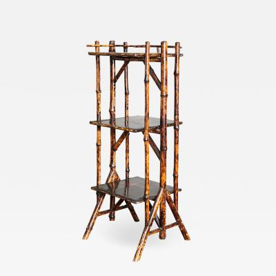 English Victorian Bamboo and Lacquer Etagere
