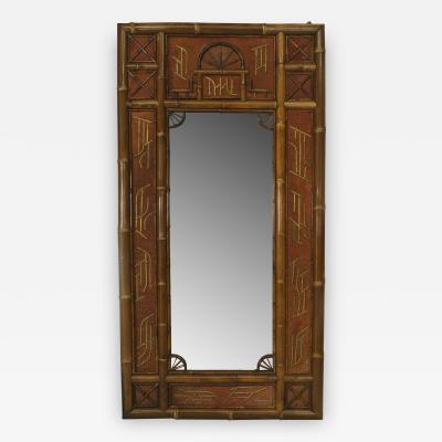English Victorian Bamboo large rectangular wall mirror