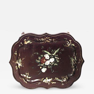English Victorian Chinoiserie Maroon Lacquer and Papier Mache Tray Top Table