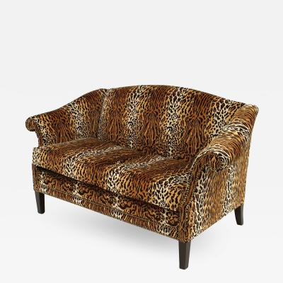 English Victorian Faux Leopard Velvet Loveseat