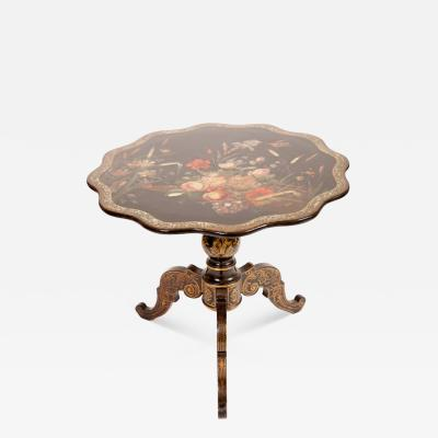 English Victorian Lacquered Tilt Top Table