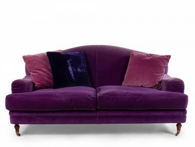 English Victorian Purple Velvet Loveseat