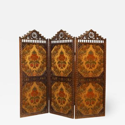 English Victorian Walnut 3 Fold Screen