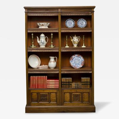 English Victorian Walnut Open Bookcase Circa 1870