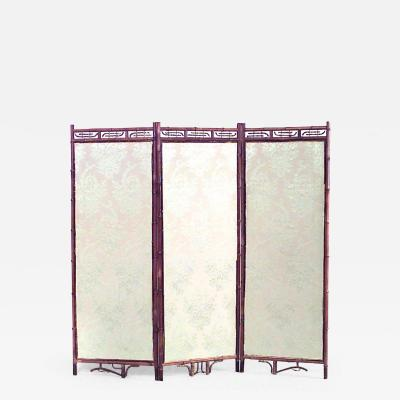 English Victorian bamboo 3 fold screen