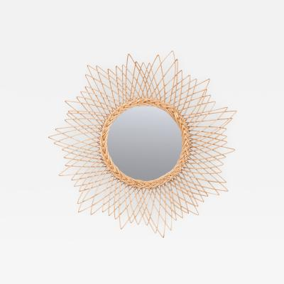 English Vintage Rattan Sunburst Mirror