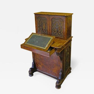English Walnut and Marquetry Davenport Desk 19th Century