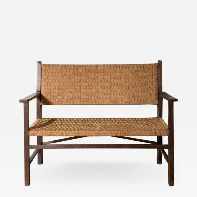 English Woven String Bench c 1930 s
