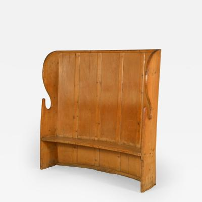 English curved pine settle bench