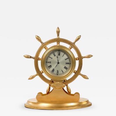 English gilt metal ships wheel desk clock