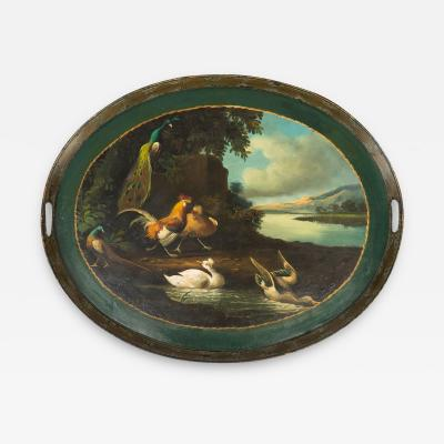 English hand painted standing rim oval tole tea tray