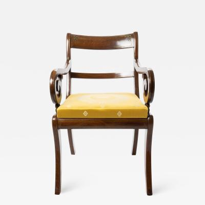 English mahogany arm chair with upholstered seat