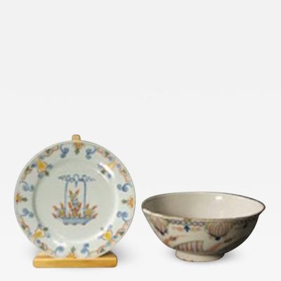English tinglaze plate and bowl