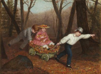 Enoch Wood Perry Jr Collecting Autumn Leaves