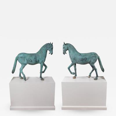 Enormous Elegant Verdigris Bronze Horses