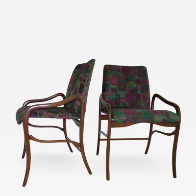 Enrico Ciuti Enrico Ciuti Dark Walnut Finish and Velvet Set of Six Dining Chairs