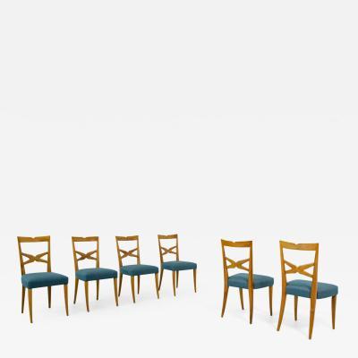 Enrico Ciuti Enrico Ciuti set of 6 elegant blond walnut chairs with open back