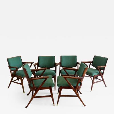 Enrico Ciuti Important Set of Six Cassina Dining Armchairs designed by Enrico Ciuti 1950