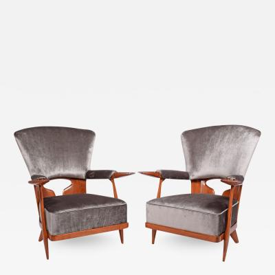 Enrico Ciuti Rare Pair of Easy Chairs by Enrico Ciuti