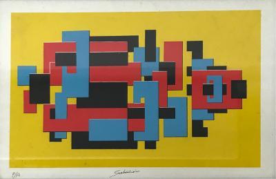 Enrique Carbajal Gonz lez aka Sebasti n Original Lithograph by Mexican Artist Sebastian PA Abstract Untitled