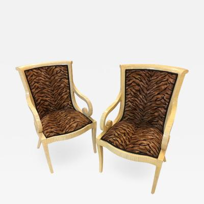 Enrique Garcel Pair of Enrique Garcel Off White Bone Arm Chairs Signed