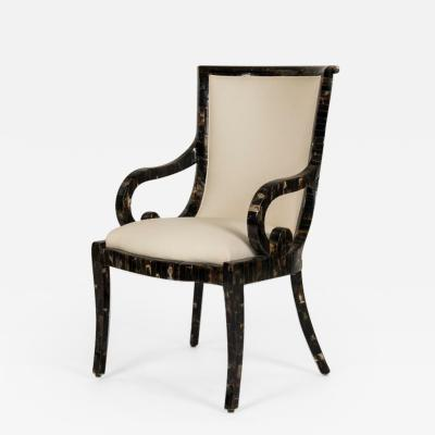 Enrique Garcel Set of 12 Tessellated Horn Arm Chairs